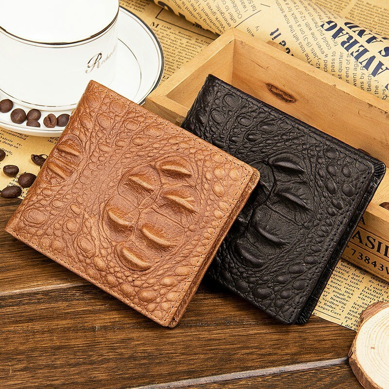 Alligator genuine cow leather men short wallet vintage male coin purse thin small crocodile organizer bifold student wallet 2017 new wallet small coin purse short men wallets genuine leather men purse wallet brand purse vintage men leather wallet