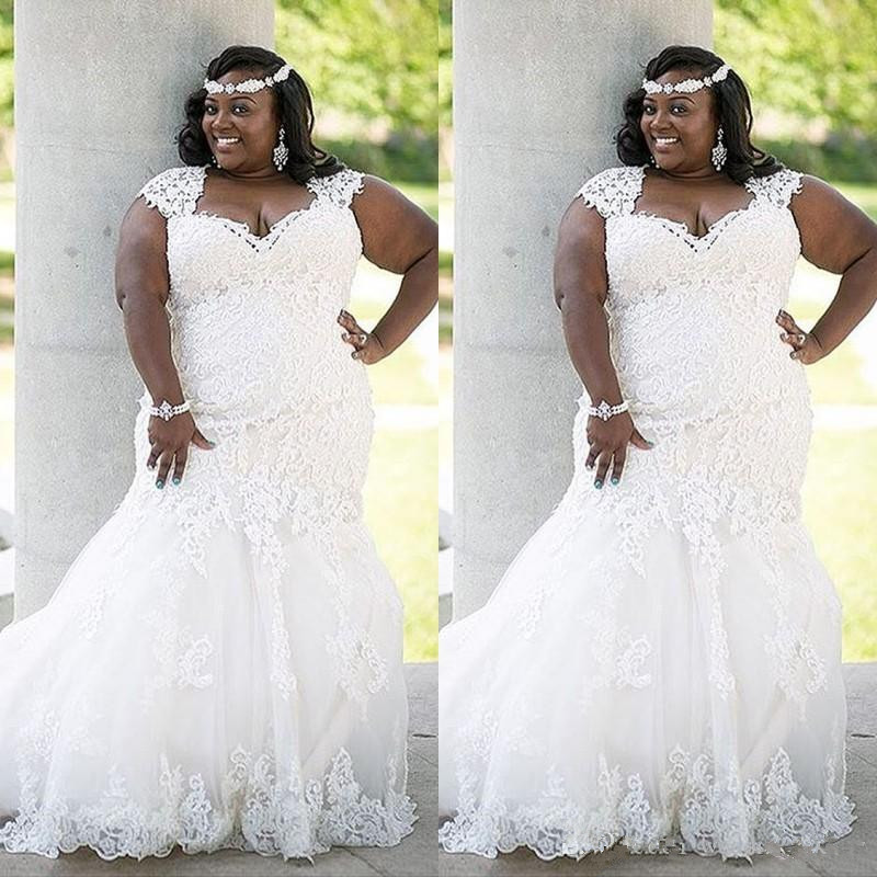 US $152.15 15% OFF|2019 Stunning Summer Lace Wedding Dress Plus Size  Country Style Elegant Mermaid Bridal Gowns Appliques Tulle wedding gowns-in  ...