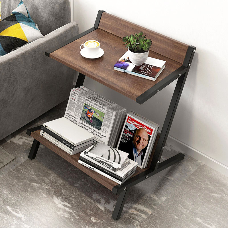 Wood Double Layer Coffee Table Living Room Sofa Side Table Small Dining Table Organizer Storage Small End Table Home Furniture