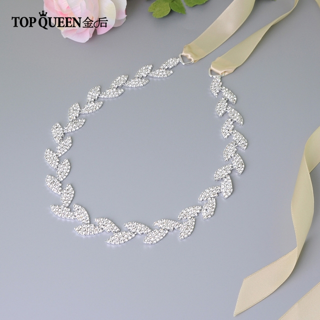 TOPQUEEN S198-S Cinto de Casamento para a noiva de Noiva Acessórios vestido de Noiva Cintura vestido de Noiva sash belt Prata Esquadrias de Noiva Cintos