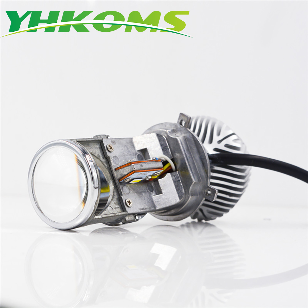 YHKOMS Car Headlight H4 Mini Projector LED Bulb With Lens Hi/lo Beam Headlamp H4 Motor Motorcycle Headlight 6500K 12V 24V h4 motorcycle led headlight hi low beam scooter headlight