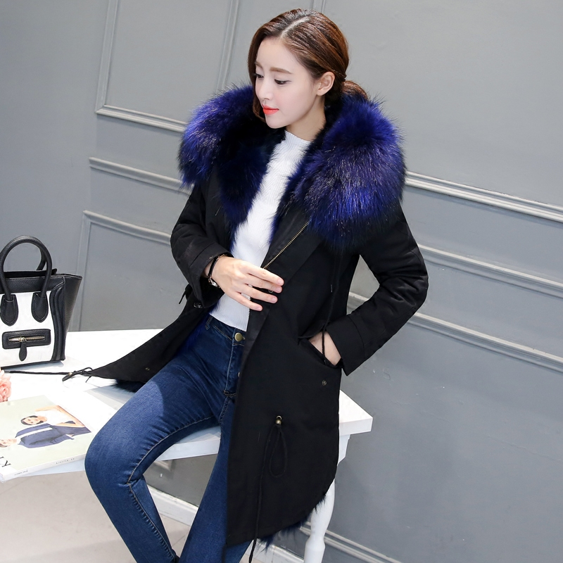 Winter The New natural real fox Hair liner Fur Raccoon Coat Female Big hair collar Army Green coat Removable parka with 2017 winter new clothes to overcome the coat of women in the long reed rabbit hair fur fur coat fox raccoon fur collar