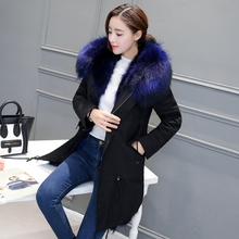 Winter The New natural real fox Hair liner Fur Raccoon Coat Female Big hair collar Army Green coat Removable parka with
