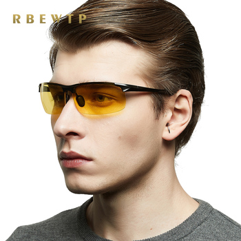 RBEWTP Aluminum Magnesium Sport Men's Night Vision Goggles Polarized Sunglasses Gold Frame Rimless Glasses oculos For Men YS8177