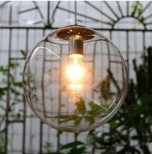 Modern Minimalist Clear Glass Ball Pendant Light fixture DIY home deco living room Personalized Art Chrome Pendant LampE27 bulbModern Minimalist Clear Glass Ball Pendant Light fixture DIY home deco living room Personalized Art Chrome Pendant LampE27 bulb
