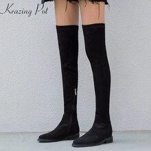 Krazing Pot/Рекомендуемые Зимние ботфорты из коровьей кожи, флока, на молнии, с круглым носком, на квадратном каблуке, без шнуровки, L59