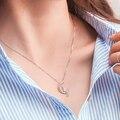 Nova Moda Jóias de Prata de Ouro Lua Gato Lindo Pingente Declaração de Colares Mulheres Presentes de Natal S4097