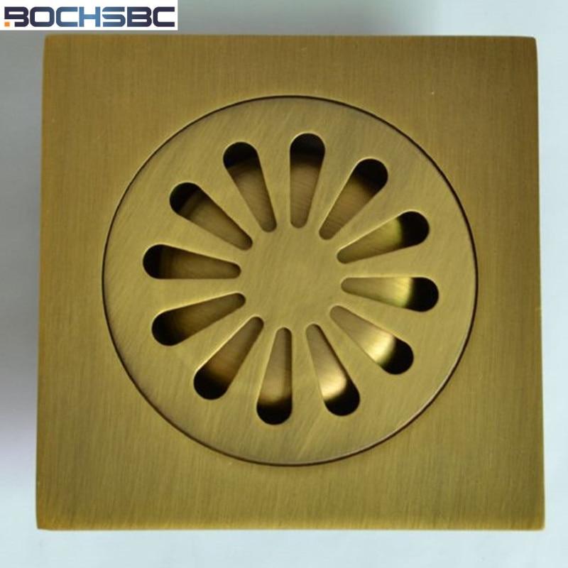 BOCHSBC European Garden Style Antique Retro Kitchen Drain Strainer Bathroom Toilet Floor Drain Washing Machine Drain Full Copper