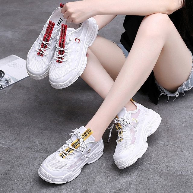 JACKSHIBO Cute White Yellow Chunky Sneakers Designer Luxury Women Shoes High End Casual Dadly Shoes Espadrilles Beleza Tufli