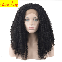 High Quality Mongolian Afro Kinky Curly Hair Weave Dark Brown Lace Front Synthetic Hair Wigs Wigs For Women Ombre Pop Xi.Rocks