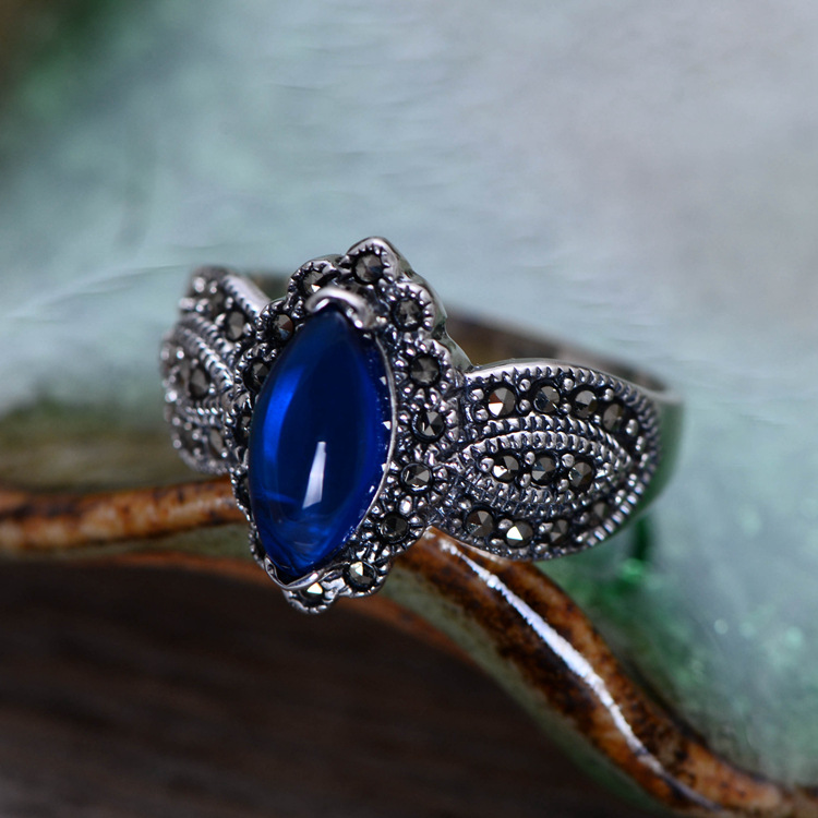 wholesale s925 pure silver ornaments Thai silver restoring ancient ways with synthetic blue corundum female ring