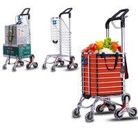Y150,Foldable Aluminum Alloy Shopping Cart Climbing Trolley Luggage Cart Large Capacity Supermarket Shopping Cart