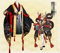 Hot Game Onmyoji Hannya Black Cosplay Clothing Dress High Quality Cos Skirt Coat+Kimono+Skirt+Gloves+Mask Cosplay Costume