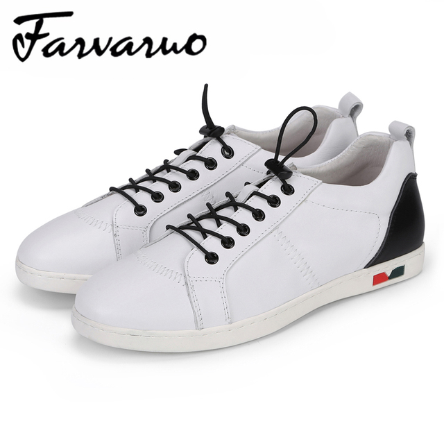 Farvarwo Handmade Spring Summer Fashion White Casual Shoes for Men New Comfortable Genuine Leather Breathable Flats Sneakers Men