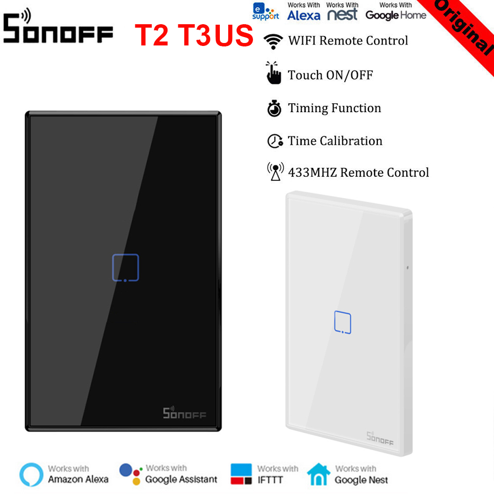 SONOFF T2 T3 Smart Switch Panel US 120 Type 1/2/3 Gang Work With Alexa Google Home 433mhz RF Control By EWeLink Dropshipping
