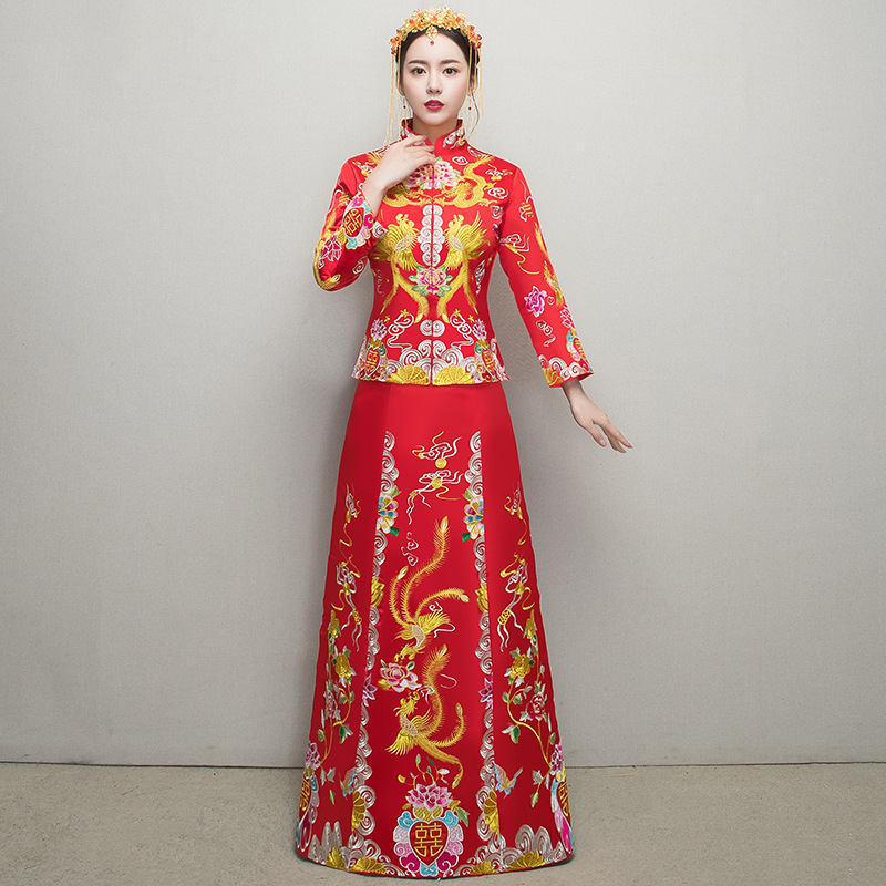 Bride Marriage Wedding Dress Suit Chinese Lady Exquisite Emobroidery Qipao Noble Phoenix ...
