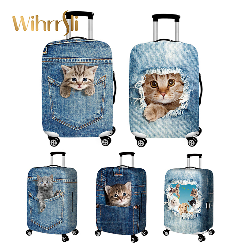 Travel Accessories Elasticity Denim Luggage Cover Suitcase Protection Baggage Dust Cover Cute Animal Cover Trunk Set For