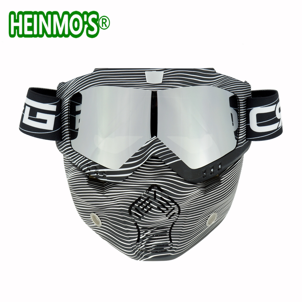 New Vintage Helmets Detachable Goggles And Mouth Filter Perfect For Open Face Motorcycle Half Helmet Modular Mask