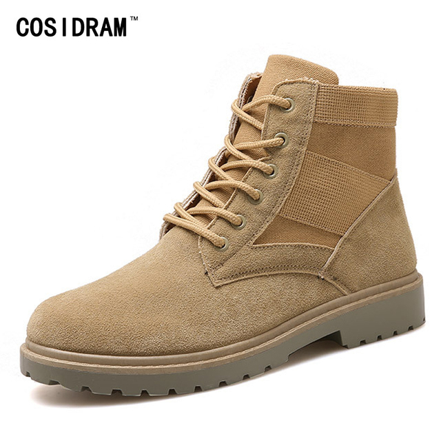 COSIDRAM Army Boots Men's Military Desert Tactical Boot Shoes Autumn Canvas Suede Leather Combat Ankle Boots Soft Botas RME-290