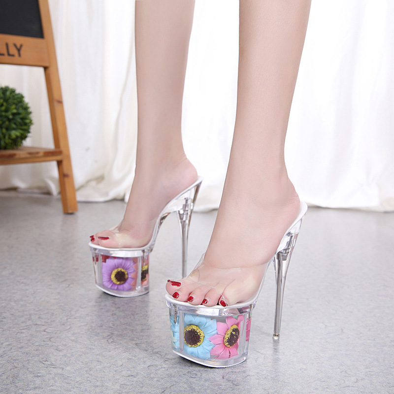 Large Size Sunflower Flower High Heels Platform Sandals Women 15cm 17cm Transparent Heel Crystal Party Wedding Shoes AWS134