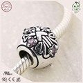 Good Quality Purple Stone 925 Pure Silver Flower Pattern Ball Bead Charm Fitting European Famous Bracelet
