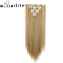 S-noilite 24″ 8 Pieces/set Long Striaght 180g Clip in on Natural Hair Extensions Full Head Real Synthetic 18 Clips ins for human