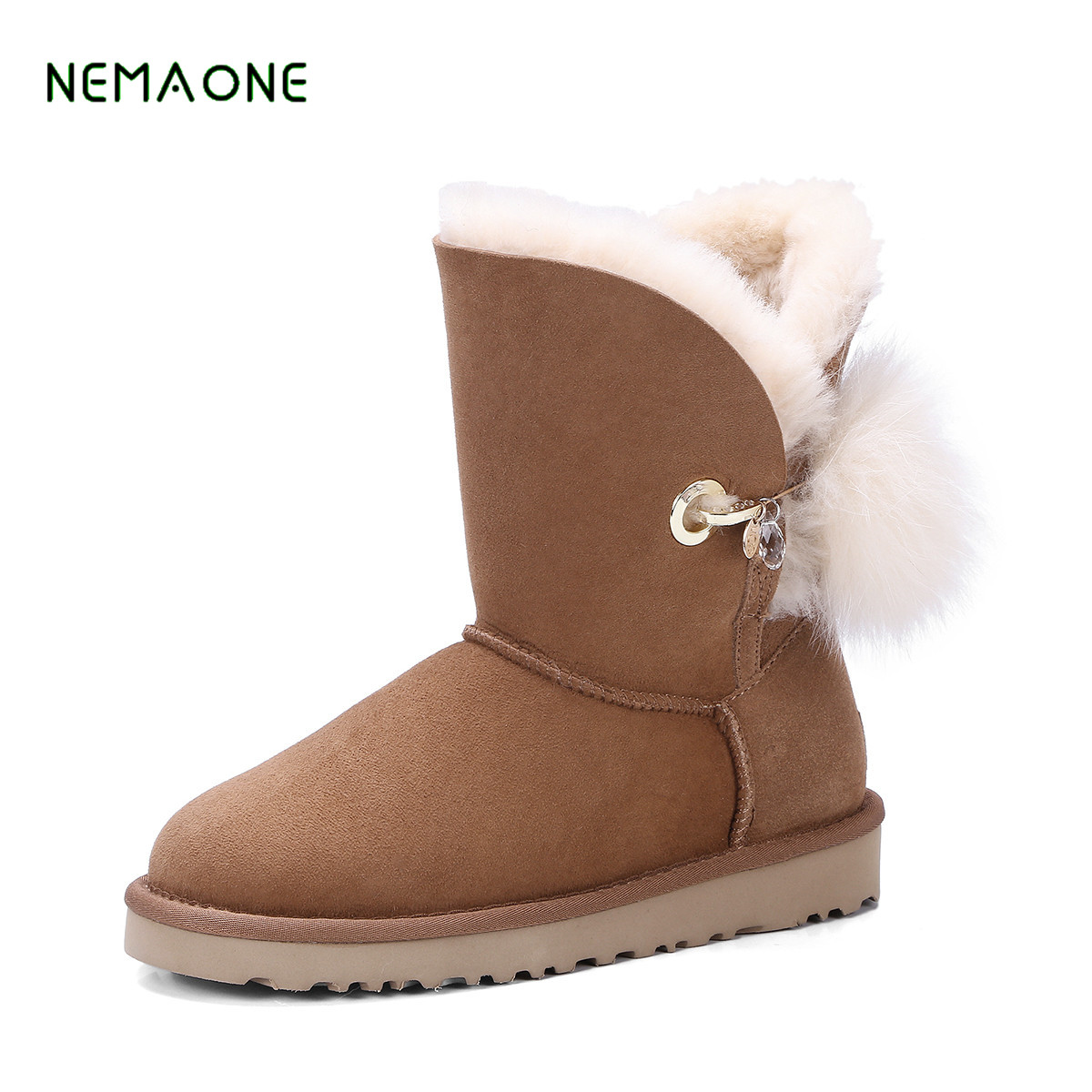 NEMAONE New Fashion 100% Genuine Cowhide Leather Snow Boots Real Fur Classic Mujer Botas Waterproof Winter Shoes for Women цены онлайн
