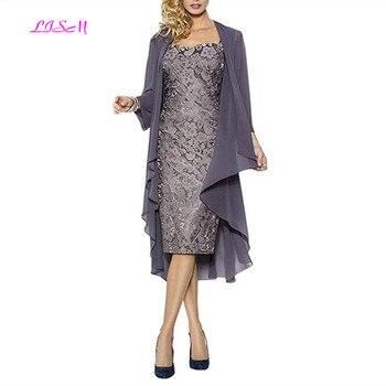 9e5f77a4a0c Короткое Кружевное платье для матери невесты с куртка шифоновая по колено  вечерние деловые платья плюс размер платье для матери на заказ