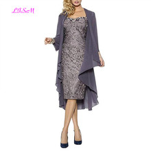 Short Lace Mother of The Bride Dress with Chiffon Jacket Knee-Length Evening Formal Gowns Plus Size Custom made