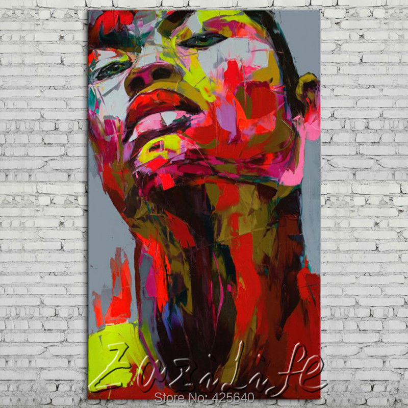 Palette font b knife b font portrait Face Oil painting Character figure canva Hand painted Francoise