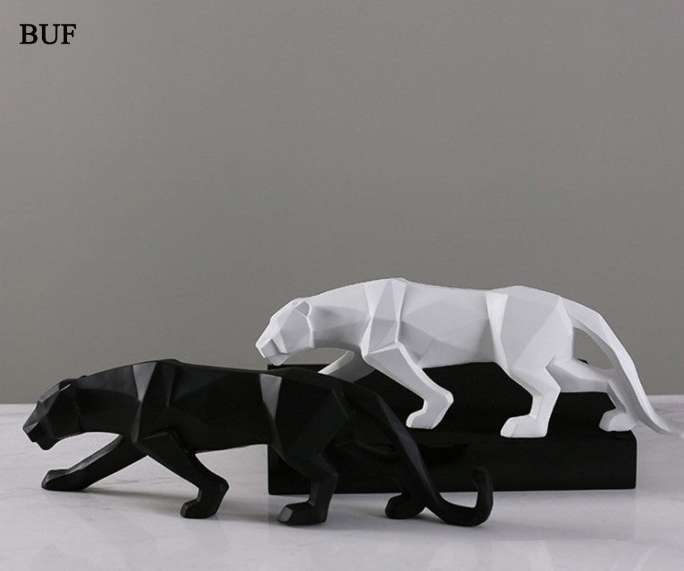 BUF Modern Abstract Black Panther Statue Resin Ornaments Home Decoration accessories Gift Geometric Resin Leopard Sculpture