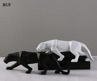 Buf Современный абстрактный Черная пантера статуя смолы Украшения аксессуары для украшения дома подарок геометрический Смола Leopard Скульпту