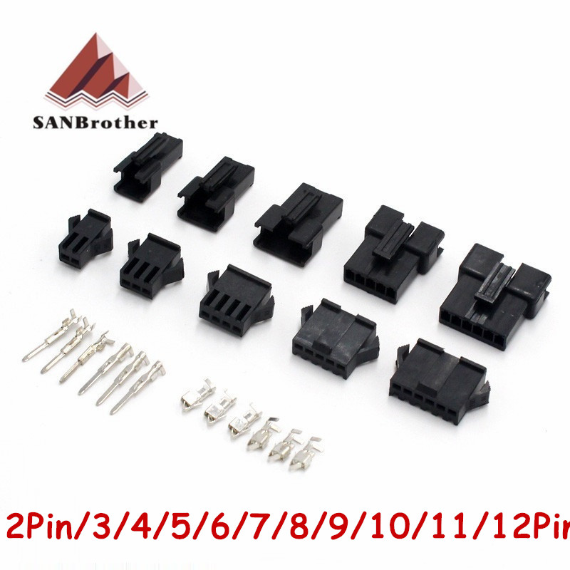 3D Printer Connectors SM2/3/4/5/6/7/8/9/10/11/12 Pin Pitch 2.54MM Female And Male Housing + Terminals SM-2P SM-2R JST SM2.54