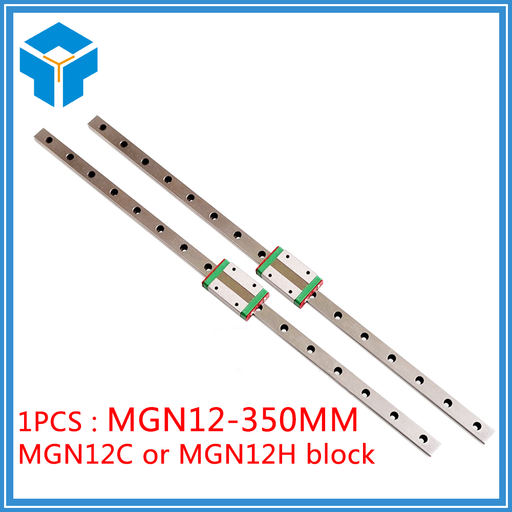 3D Printer 12mm Linear Guide MGN12 L= 350mm linear rail way + MGN12C or MGN12H Long linear carriage for CNC X Y Z Axis