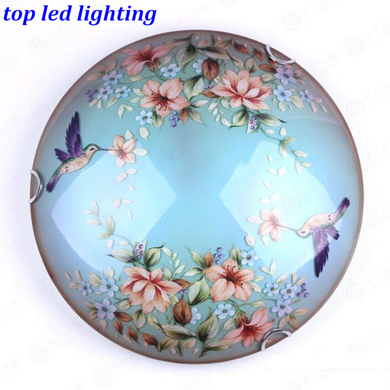 Mediterranean Sea Hand Painted Led E27 Glass Ceiling Light for Aisle Bedroom Living Room Dia 30/40/50cm AC 80-265V 1143 hand painted chinese style jingdezhen ceramic ceiling light for living room dining room aisle the entrance bulb included