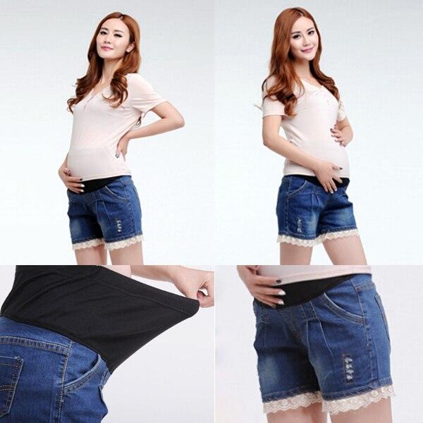 2015 Новый Беременных Женщин Короткие Джинсы L/XL/XXL Комфортно Материнства Регулируемые брюки Тонкий карандаш Брюки Эластичный Пояс джинсы