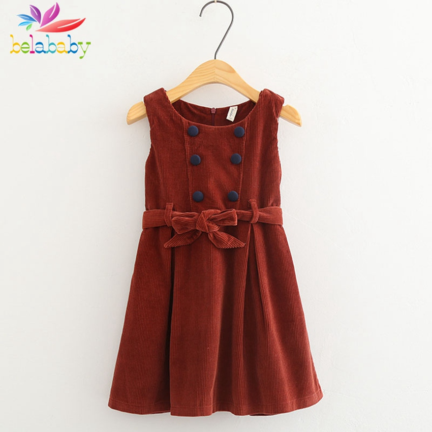 Belababy Corduroy Dresses for Girls Summer Fashion Solid Sleeveless Sundress Pleated Dress Children Clothing with Bow Belt
