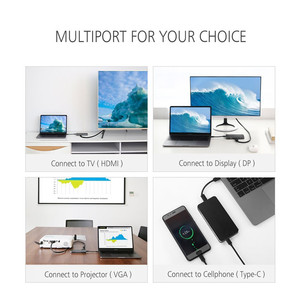 Image 4 - Thunderbolt 3 Type C Hub to HDMI Adapter USB C to HDMI VGA USB 3.0 USB C Charging Converter for Monitor Macbook Projector