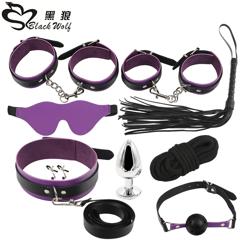 BlackWolf 9pcs Bdsm Sex Couples Exotic Accessories Nylon BDSM Sex Bondage Set Sexy  Handcuffs Whip Rope Anal Plug Sex Products