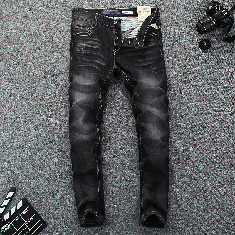 Top Quality Classical Men Jeans Cotton Fashion Jeans Black Color Slim Fit Buttons Casual Pants Simple Brand Designer Jeans Men