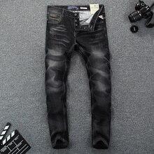 Top Quality Classical Men Jeans Cotton Fashion Black Color Slim Fit Buttons Casual Pants Simple Brand Designer