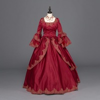 Burgundy Marie Antoinette Renaissance Dress Christmas Ball Gown Steampunk Reenactment Party Prom Dress