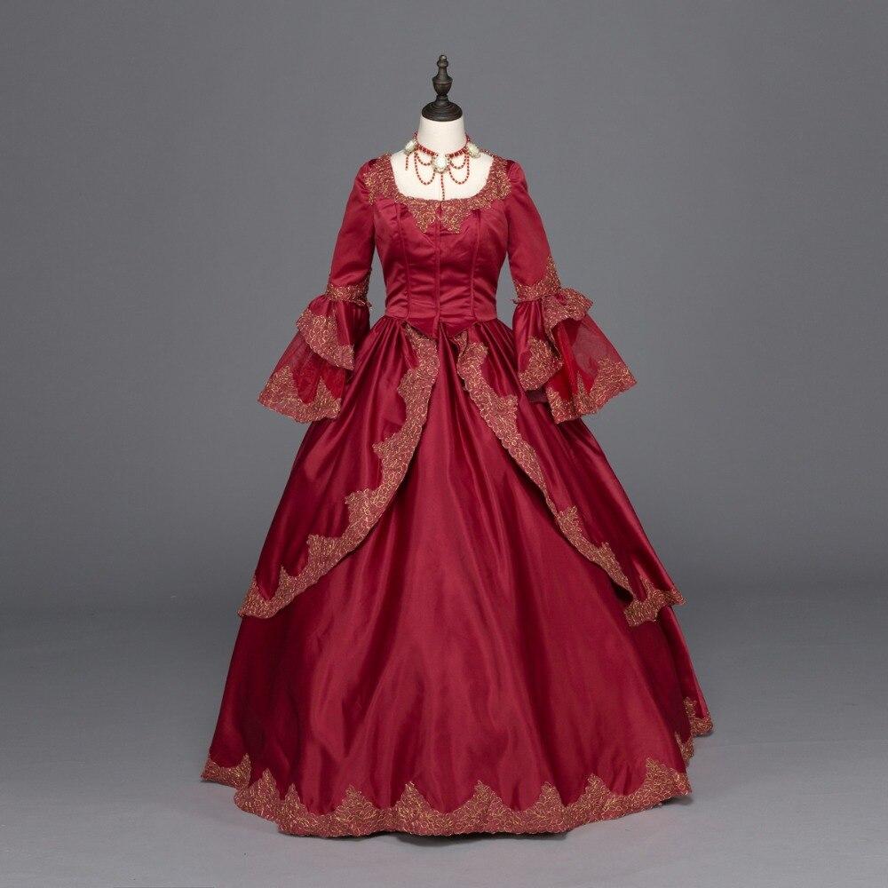 Burgundy Marie Antoinette Renaissance Dress Christmas Ball Gown ...