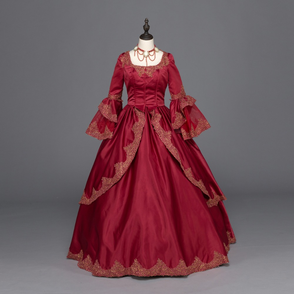Burgundy Marie Antoinette Renaissance Dress Christmas Ball