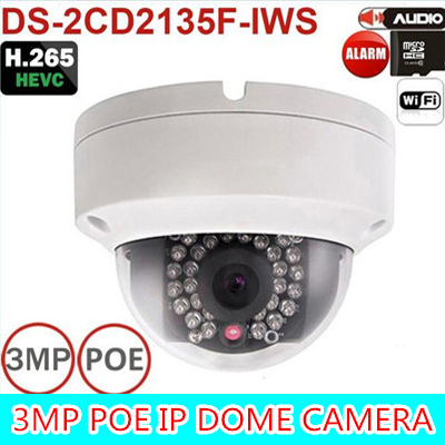 2016 New multi-language firmware DS-2CD2135F-IWS 3MP Mini Dome Camera IR Network IP Camera Support PoE and SD card store multi language ds 2cd2135f is 3mp dome ip camera h 265 ir 30m support onvif poe replace ds 2cd2132f is security camera