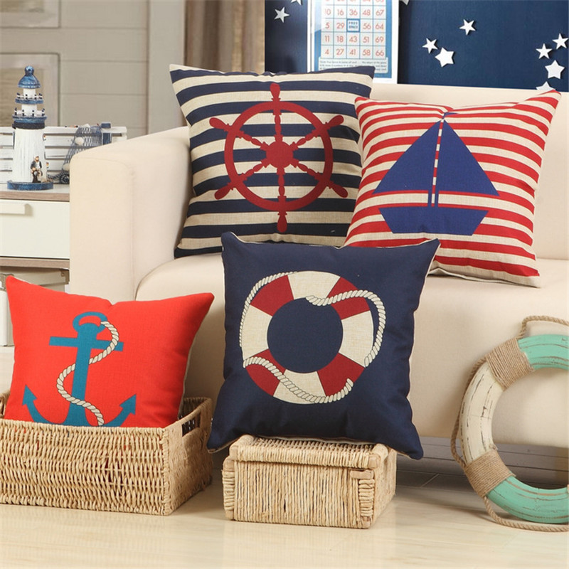 Linen Cotton Throw pillows Mediterranean Navy Blue Sea Anchor Ship Boat Stripe Pillows Cover Home Cushion Cover 45x45cm