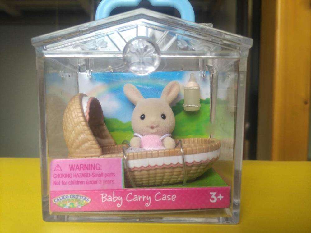 Sylvanian Familj av kanin kanin vagga bärväska mini figur Anime tecknad figur figurer Leksaker Barn Leksaker present djur docka