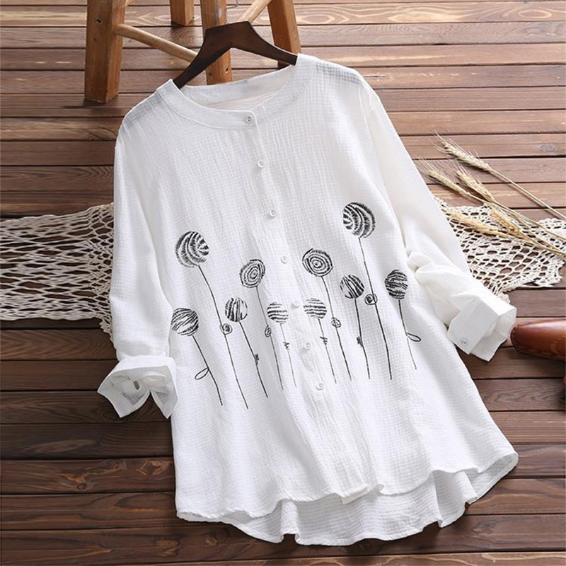 Floral Embroidery Button Women's Shirt Top White Plus Size 5XL Long Sleeve Feminine Blouse 2019 Vintage Summer Lady Tops Clothes