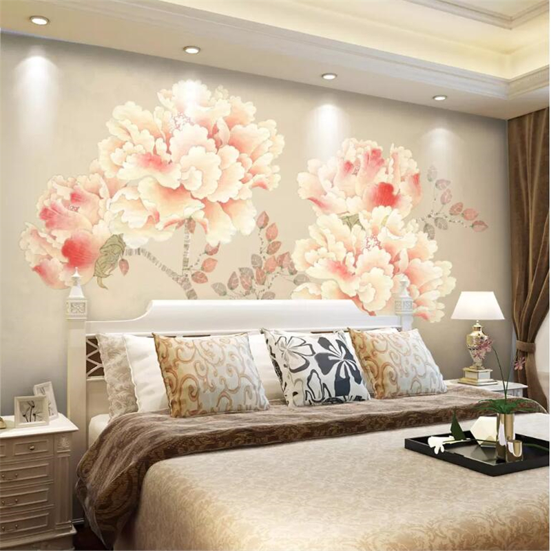 wellyu papel de parede para quarto Custom wallpaper Home and rich peony work pen peony TV background wall papier peint behang