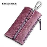 LUCKYER BEAUTY Genuine Leather Car Key Wallets Fashion Key Holder Key Case With Coin Purse Housekeeper Keys Organizer Female